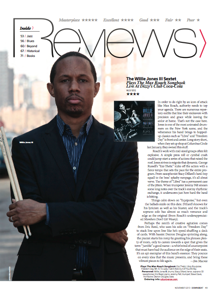 Willie Jones III, Max Roach Songbook Live At Dizzys, Downbeat Review